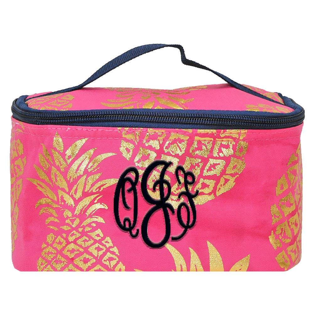 Personalized Small Cosmetic Makup Bags for the Girl on the Go (Pink Pineapple)