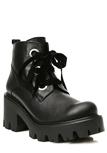 b1510f220119 Shellys London Komo Black Leather Platform Block Heel Lace Up Combat Boot ( 39)