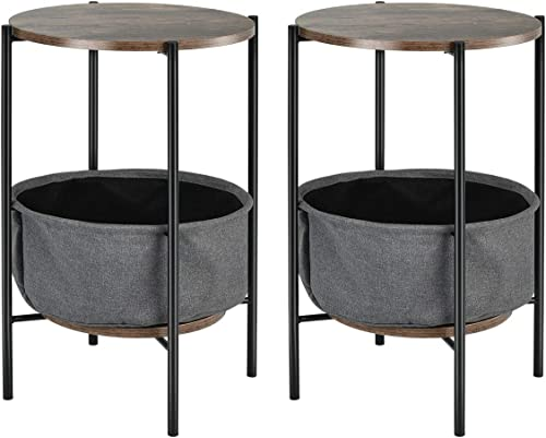 Giantex End Table Round Sofa Side Table W/Durable Storage Fabric Basket,Steel Frame