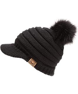 9106119183a5f MIRMARU Women s Soft Warm Ribbed Knit Visor Brim Pom Pom Beanie Hat with  Plush Lining
