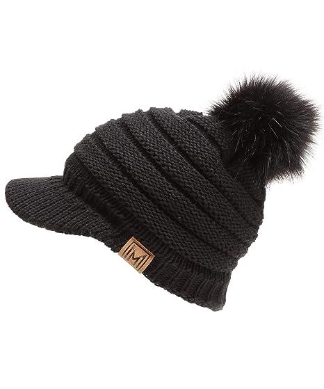 1b53e99e2df MIRMARU Women s Soft Warm Ribbed Knit Visor Brim Pom Pom Beanie Hat with  Plush Lining (