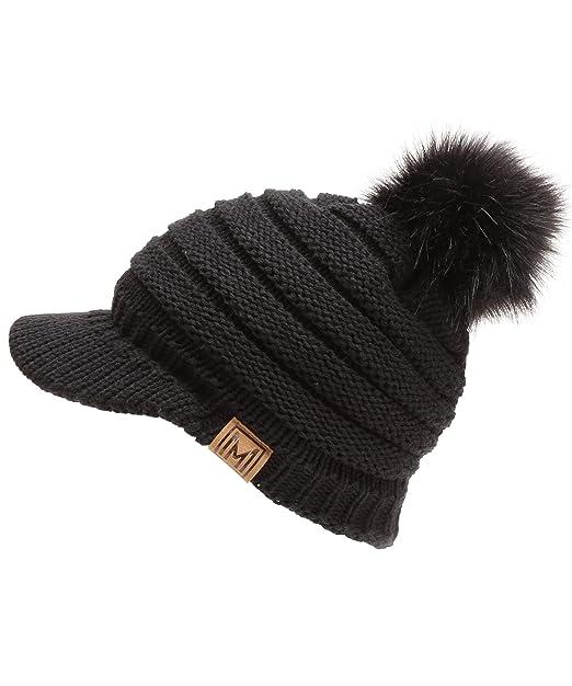 5f6fe700955 MIRMARU Women s Soft Warm Ribbed Knit Visor Brim Pom Pom Beanie Hat with  Plush Lining (