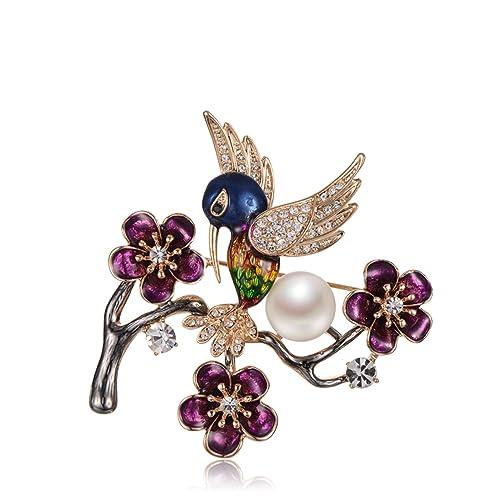 4a237932a388 bishilin chapado en oro broche de la mujer morado CZ de flores y perlas  Magpie aniversario boda colorido  Amazon.es  Joyería