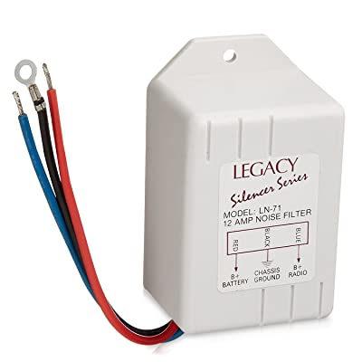 Legacy Noise Suppressor - Rated 12 Amps Power and Reduces or Eliminates Engine Interference - Compatible with Receiver, Equalizers and Amplifiers for Car Stereos - LN71: LEGACY: Car Electronics