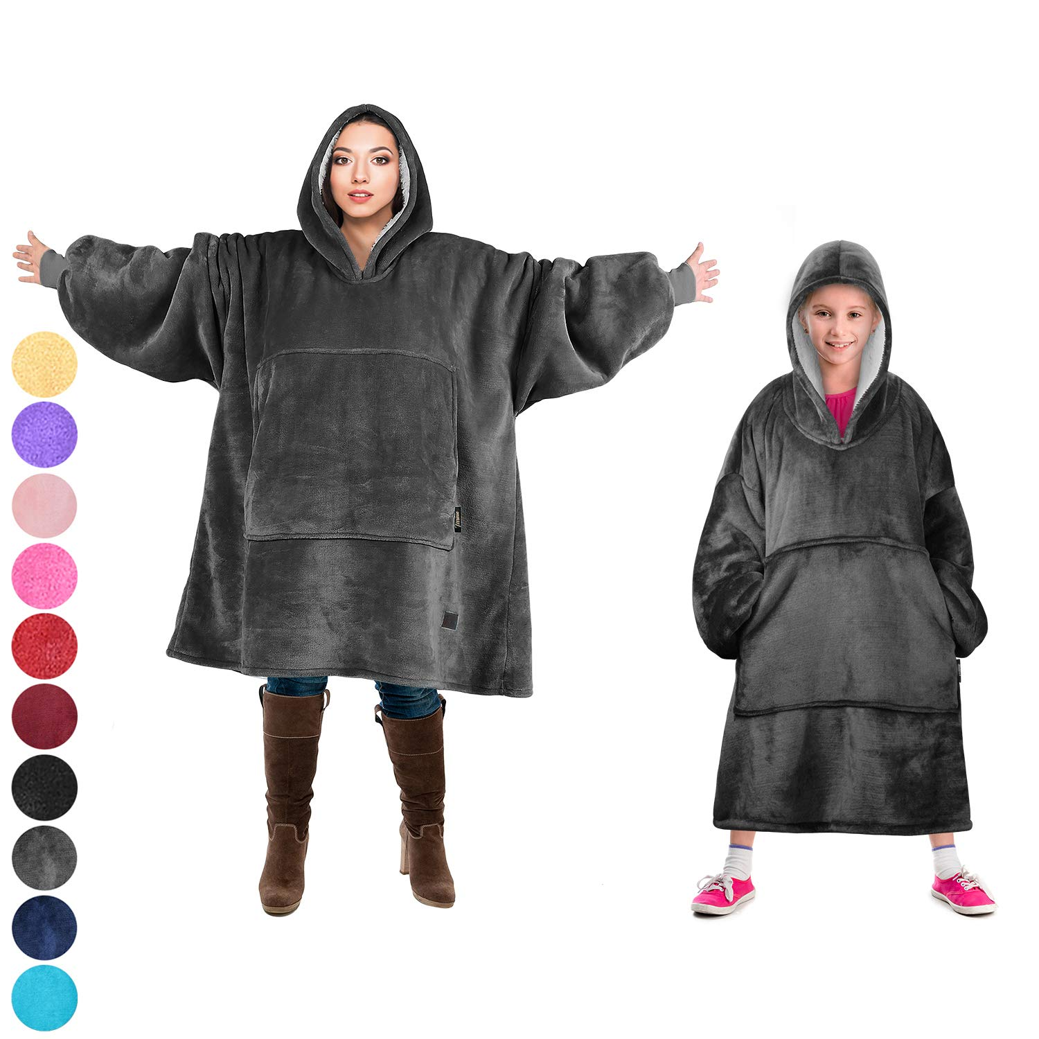 Tirrinia Blanket Sweatshirt, Super Soft Warm Comfortable Sherpa Hoodie with Giant Pocket, for Adults and College Students, Outdoor, Indoor,Reversible, Hood, Oversized, Grey