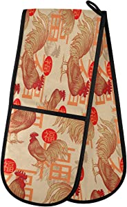 "ZZXXB Chinese Good Fortune Rooster Double Oven Mitt Heat Resistant Non-Slip Kitchen Gloves Extra Long 7"" x 35"" for Cooking Baking Barbecue Grilling"