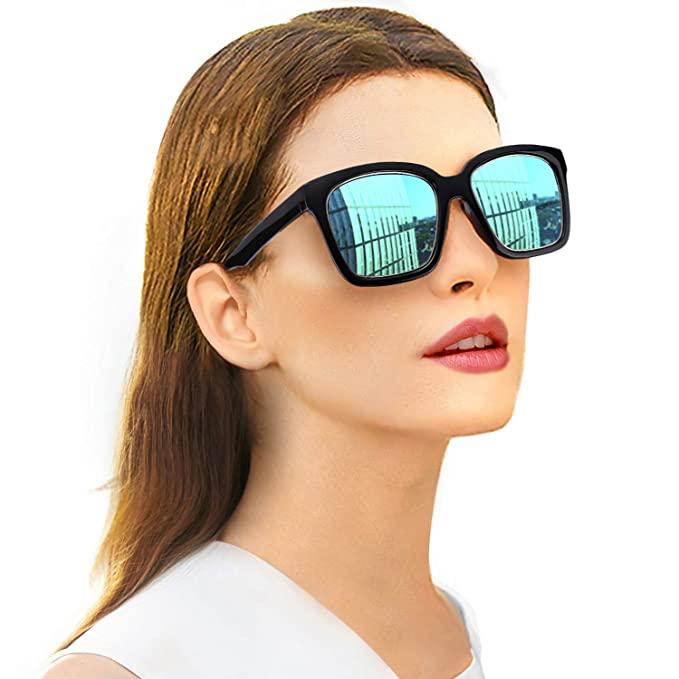361bf2ab3c96 SIPHEW Oversized Womens Sunglasses Polarized - Big Flat Square Eyewear with  UV400 Protection for Outdoor (