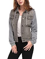 Allegra K Women Layered Drawstring Hood Denim Jacket w Pockets