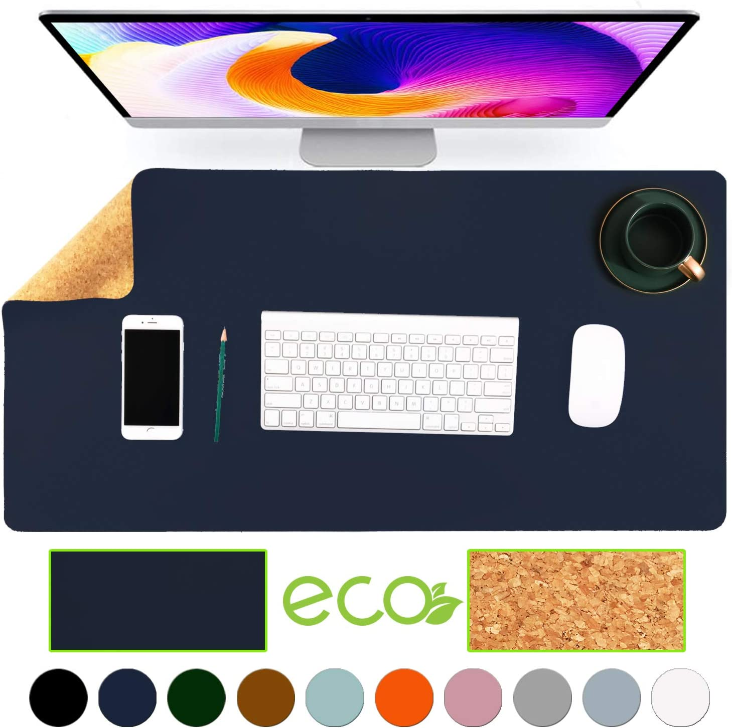 """Aothia Eco-Friendly Natural Cork & Leather Double-Sided Office Desk Mat Mouse Pad Smooth Surface Soft Easy Clean Waterproof PU Leather Desk Protector for Office/Home Gaming (Dark Blue,31.5"""" x 15.7"""")"""