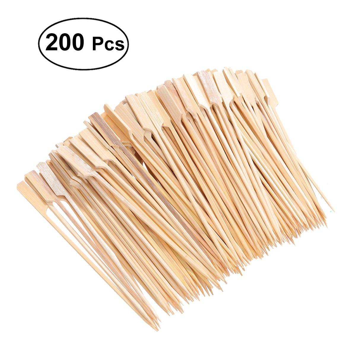 BESTONZON 200Pcs Bamboo Picks Paddle Skewers//Fruit Picks//Mini Cocktail Forks,Eco-Friendly,for Fruit BBQ Use 18 cm