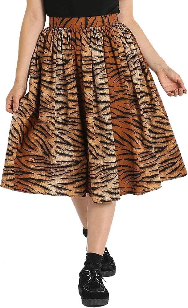 Hell Bunny Mujer Tora 50s Tigre Falda - Marron, 14: Amazon.es ...