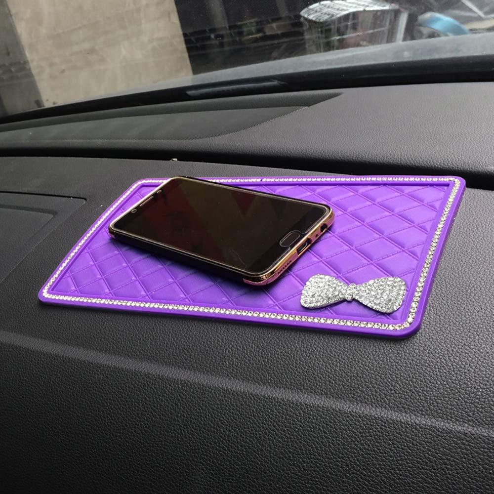 Car Ornament Diamond Bow-Knot PVC Dashboard Sticky Pad Anti-Slip Mat Universal Automobiles Interior Decoration Non-slip Cushion (Purple) by MEMBRENA