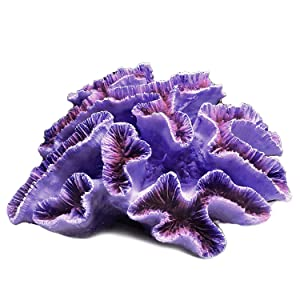 E.YOMOQGG Aquarium Coral Polyresin Ornaments, Artificial Coral Reef Decor for Fish Tank & Landscape Decoration (Purple Flower)