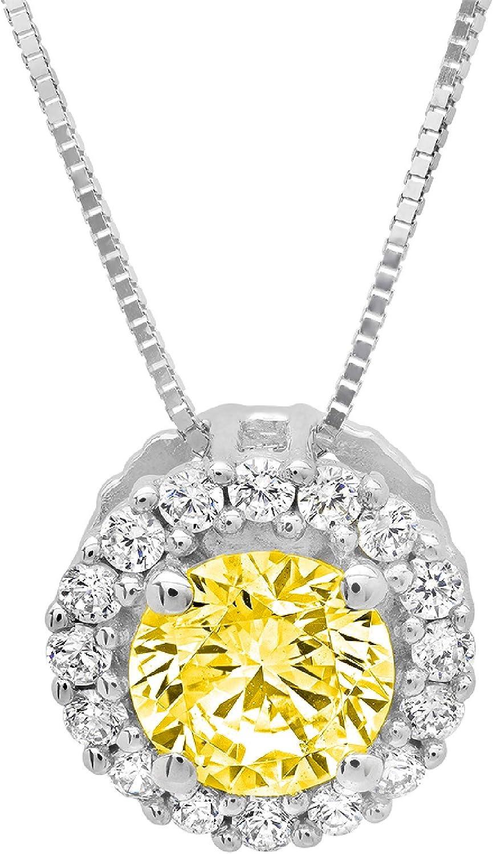Clara Pucci 2.4 CT Brilliant Round Cut 14K Yellow Gold Solitaire Pendant Box Necklace 16 Chain