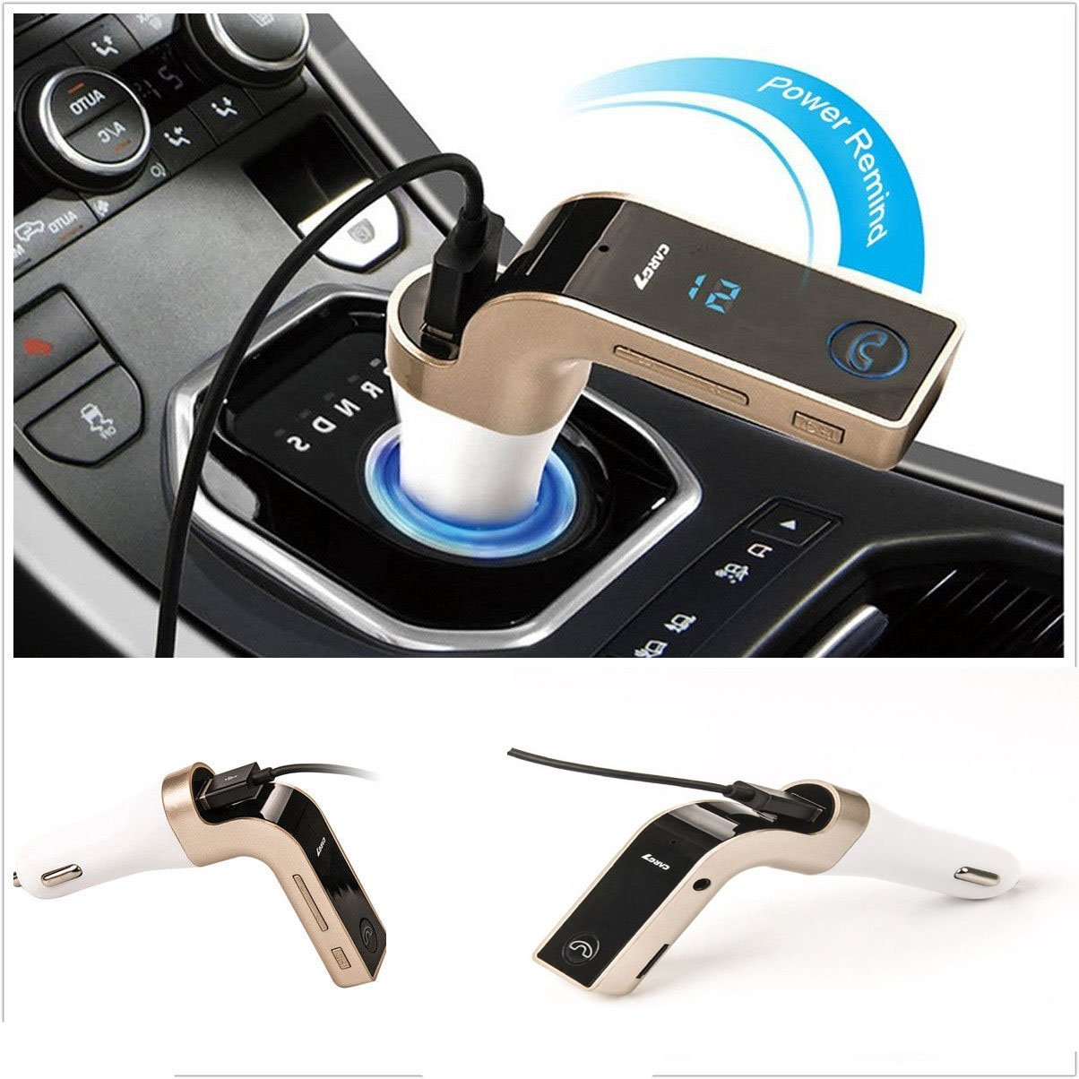 Bluetooth FM Transmitter,Wireless Radio Transmmitter MP3 Player Handfree Calling with USB for iPhone,Samsung,LG,HTC,Motorola,Sony Android Smartphone