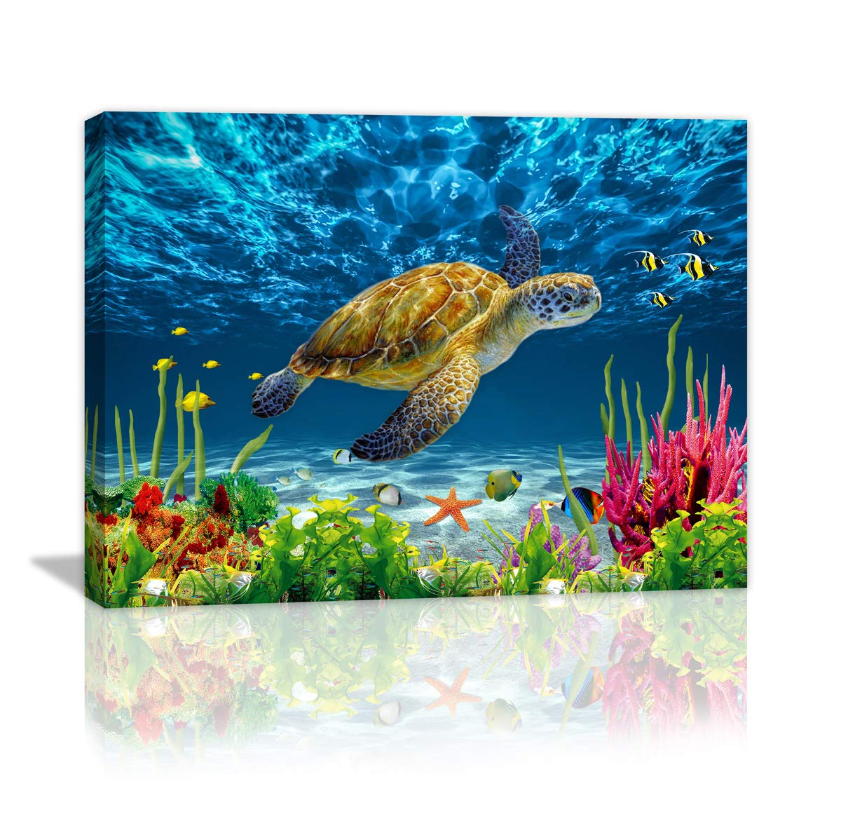 """Bathroom Wall Decor Blue Ocean Sea Turtle Wall Art Poster Artwork For Home Decor 1 Panel Canvas Prints Picture Seaview Bottom View Beneath Bathroom Decor Sea turtle Canvas Painting Size:12""""x16"""" inch"""