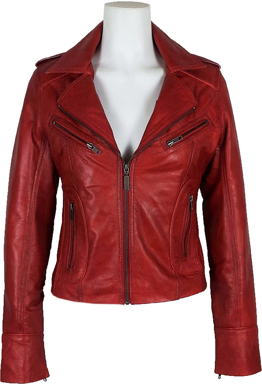 Red Leather Womens Jacket KZ2DeM