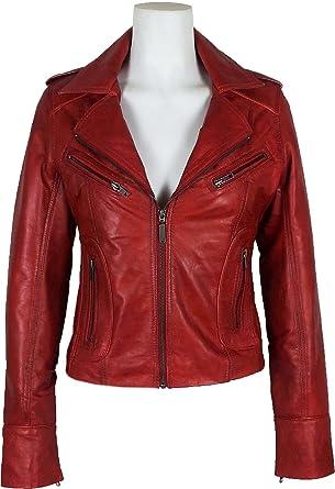 UNICORN Mujeres Genuino real cuero chaqueta Rojo encerado #Z3: Amazon.es: Ropa y accesorios