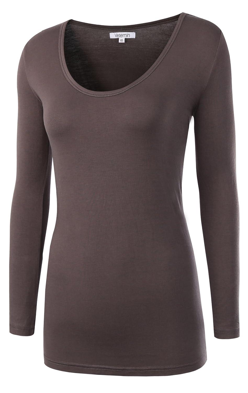 Charcoal Vetemin Women's Basic Fitted Soft Lightweight 3 4 Sleeve Deep V Neck T Shirt Tee