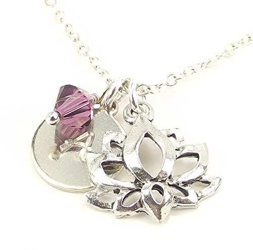 LaFenne Personalized Lotus Initial Necklace with Swarovski Crystal Silver Plated Chain Yoga Jewelry Birthday Gift