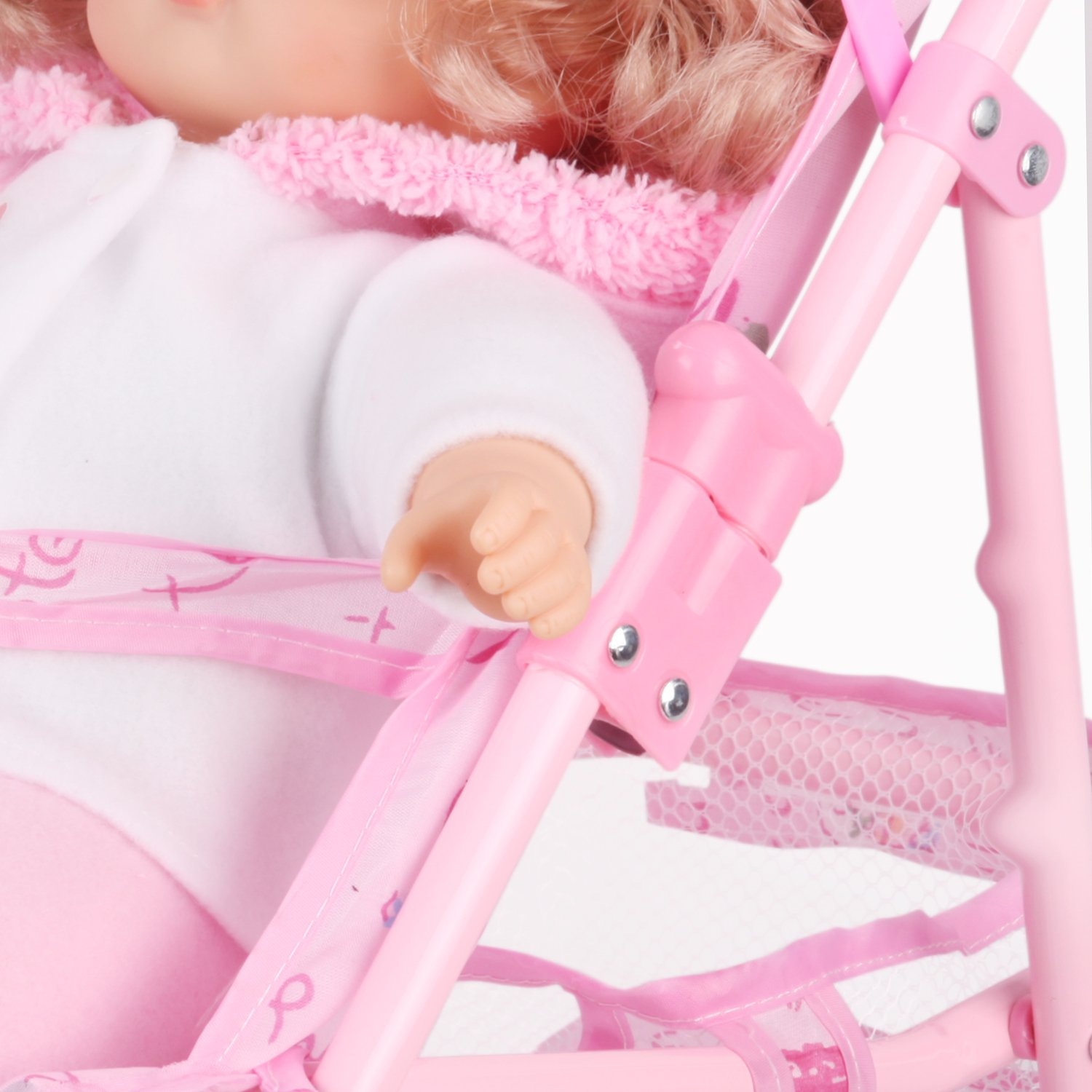 Irony Pink Doll Stroller Baby Carriage Foldable with 4 Wheels with Hood by Huang Cheng Toys (Image #9)