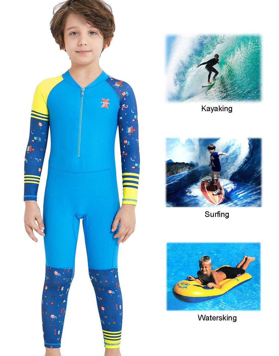 DIVE&SAIL - Traje de Neopreno de Niños de una Pieza Traje de Buceo de Deporte Acuático Natación Snorkeling Surf Playa con Estampado Colorido Secado Rápido: ...