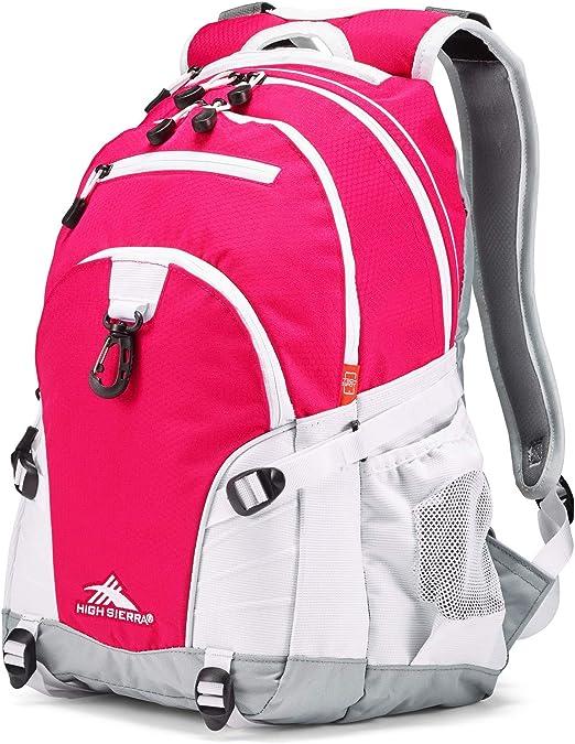 High Sierra Loop Backpack, Pink Punch/White/Ash, 19 x 13.5 x 8.5-Inch