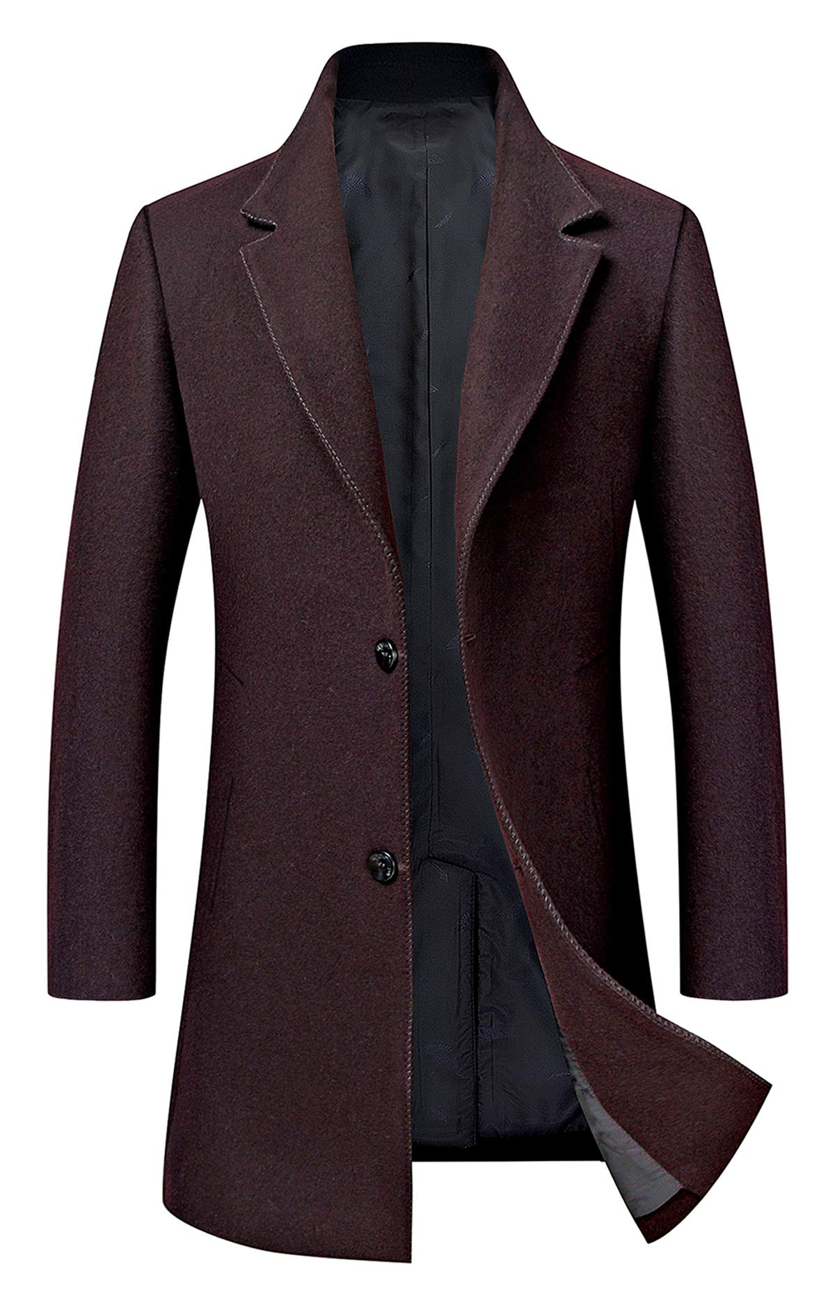 Men's Trench Coat Wool Blend Slim Fit Jacket Single Breasted Business Top Coat 18577 Wine Red S by ELETOP