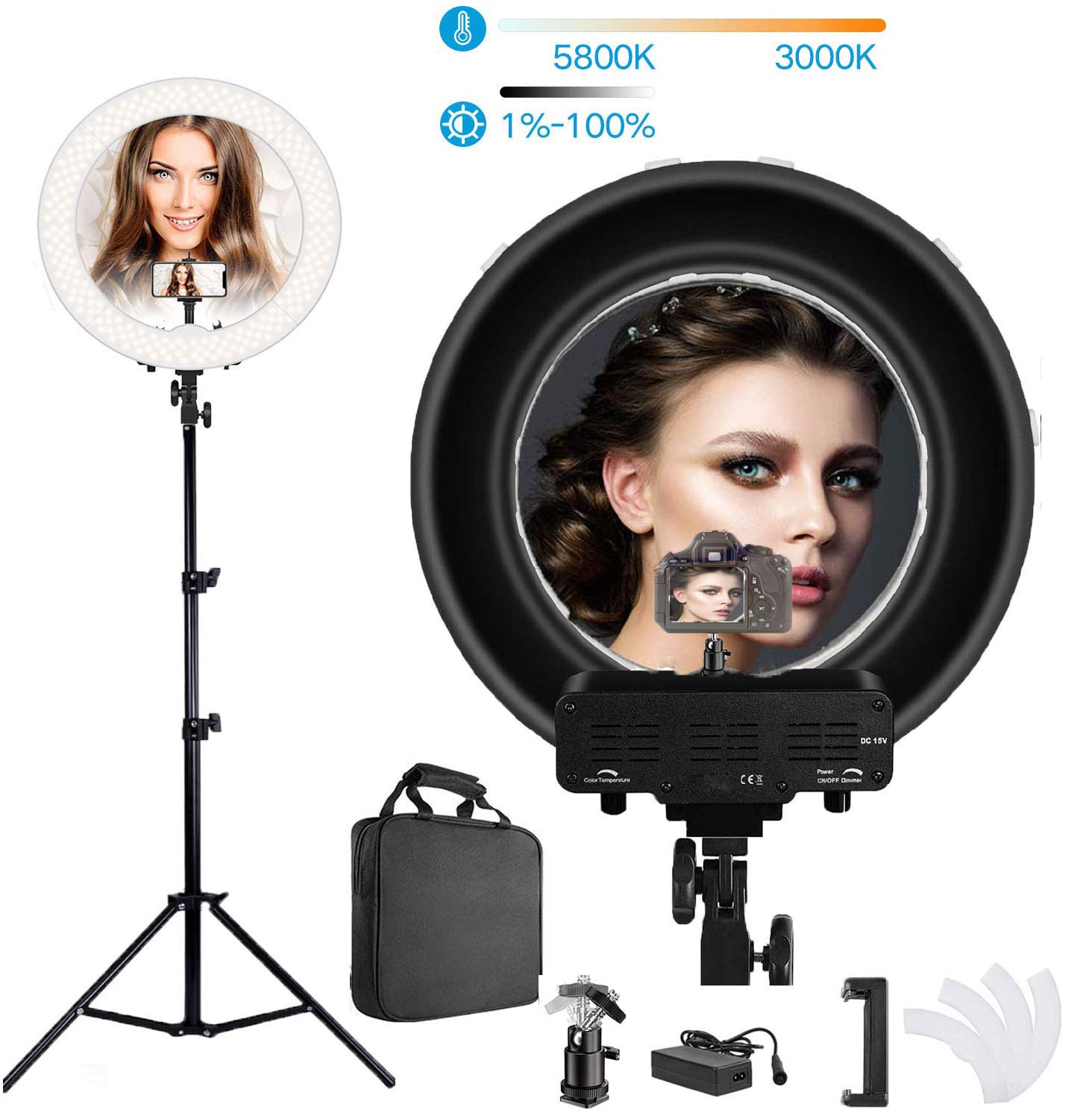 18 Inch Led Ring Light,3200-5800K Bi-Color Dimmable Selfie Ring Light Continuous Lighting Camera Light with Stand and Phone Holder for Photography Make-up YouTube Video Shooting by KEYUTE