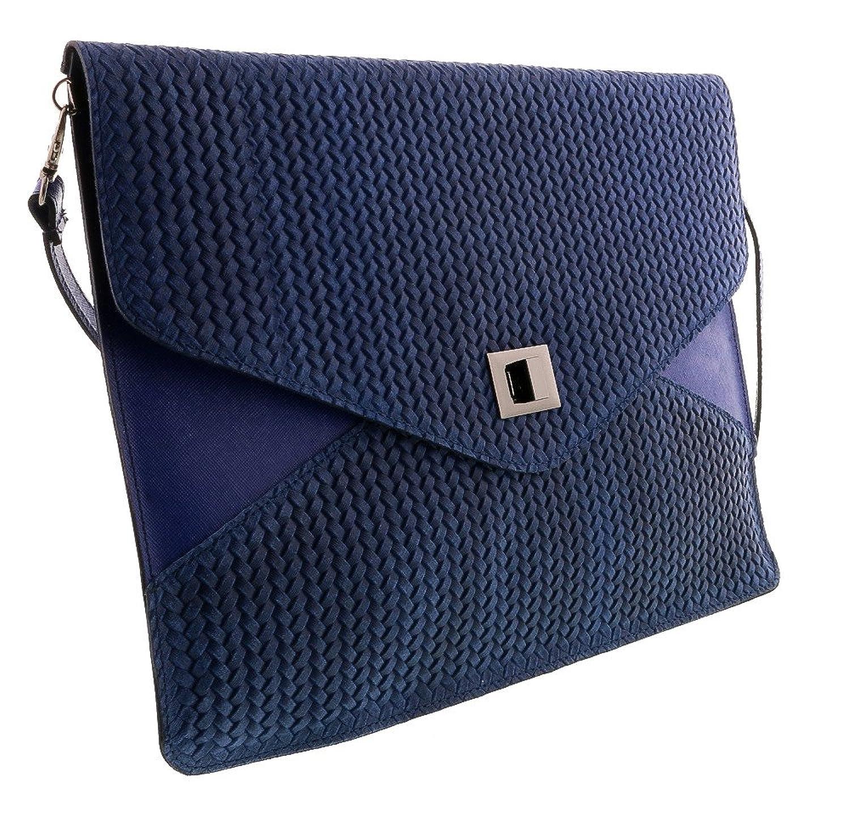 HS1154 BJ FULVIA Blue Jeans Leather Clutch/Shoulder Bag