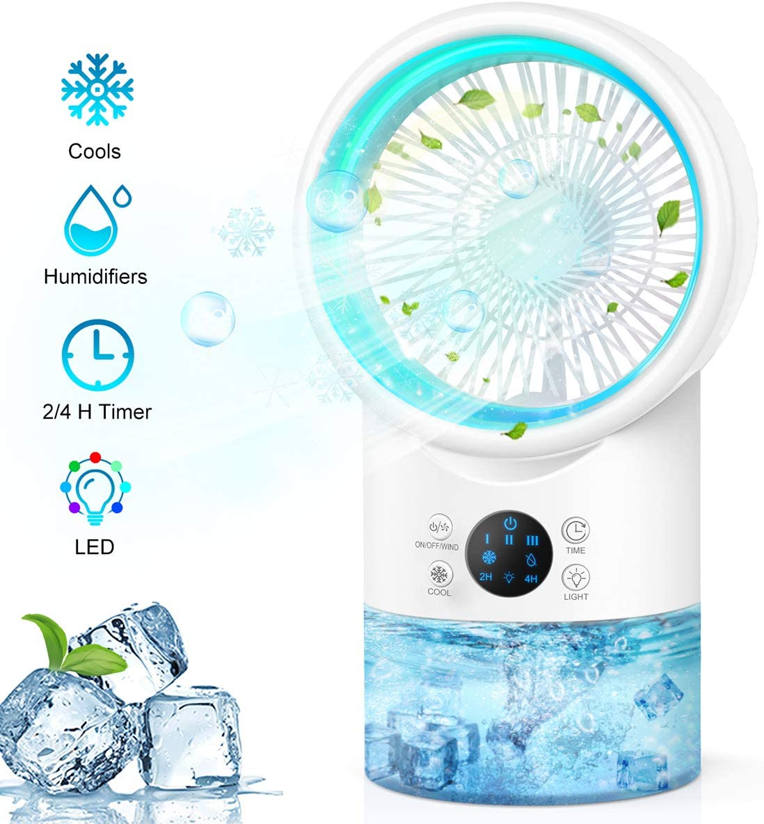 Portable Air Conditioner Fan, Personal Evaporative Air Cooler Super Quiet Desk Fan Mini Air Cooler with 7 Colors LED Light, 3 Speeds, Air Circulator Humidifier Misting Fan for Home Office Room