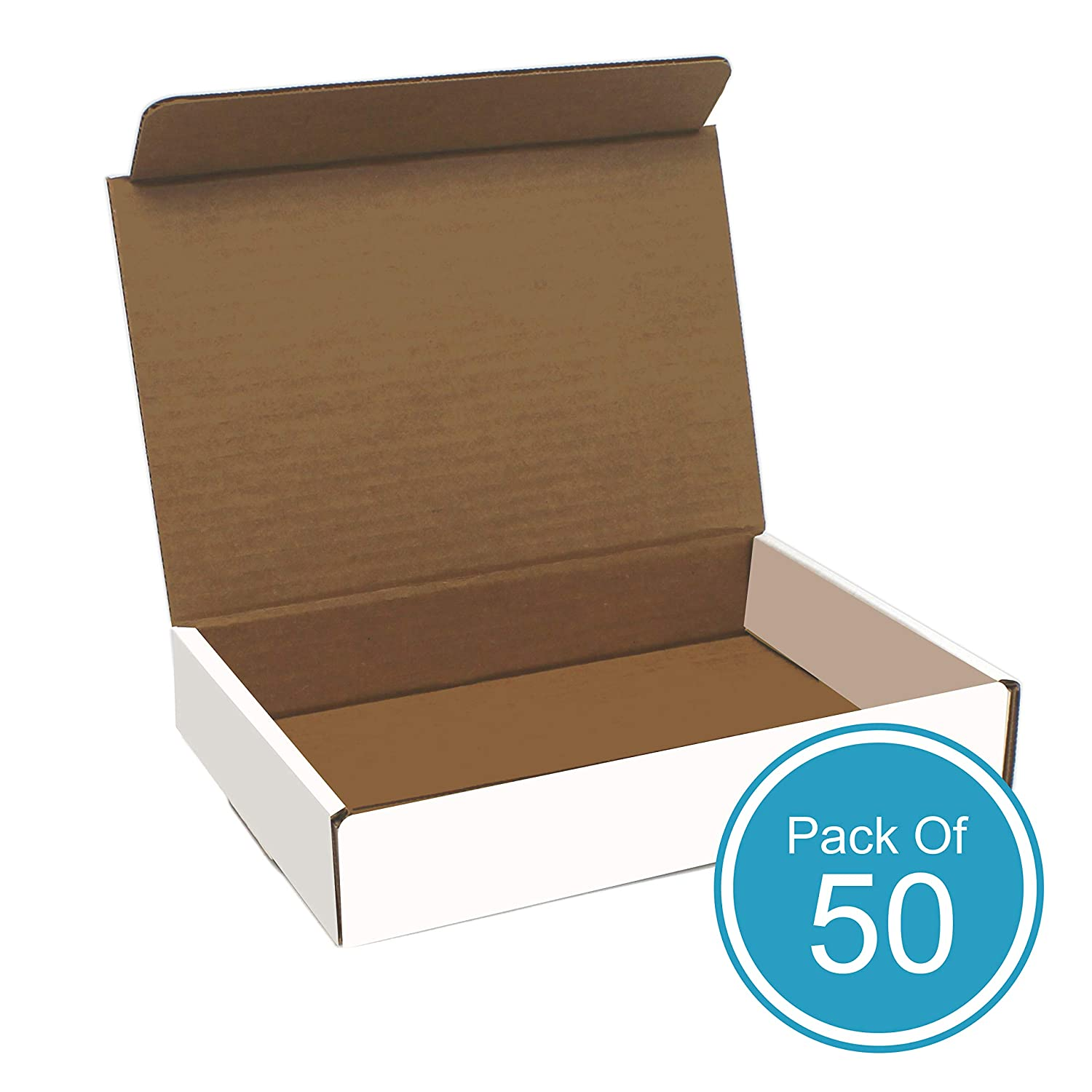 White Cardboard Shipping Box - Pack of 50, 11 x 8.75 x 2 Inches, White, Corrugated Box