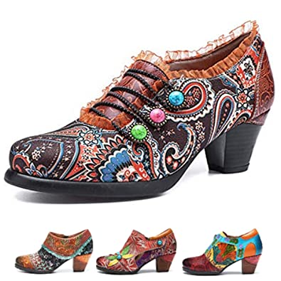 Retro Gracosy Floral Leather Oxford Chunky Shoes