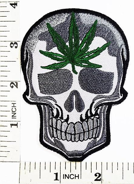 Amazon Skull Biker Marijuana Weed Pot Leaf Patch Symbol Jacket