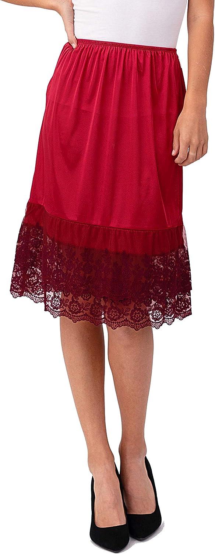 Amazon.com: Melody - Falda larga de satén de doble encaje ...