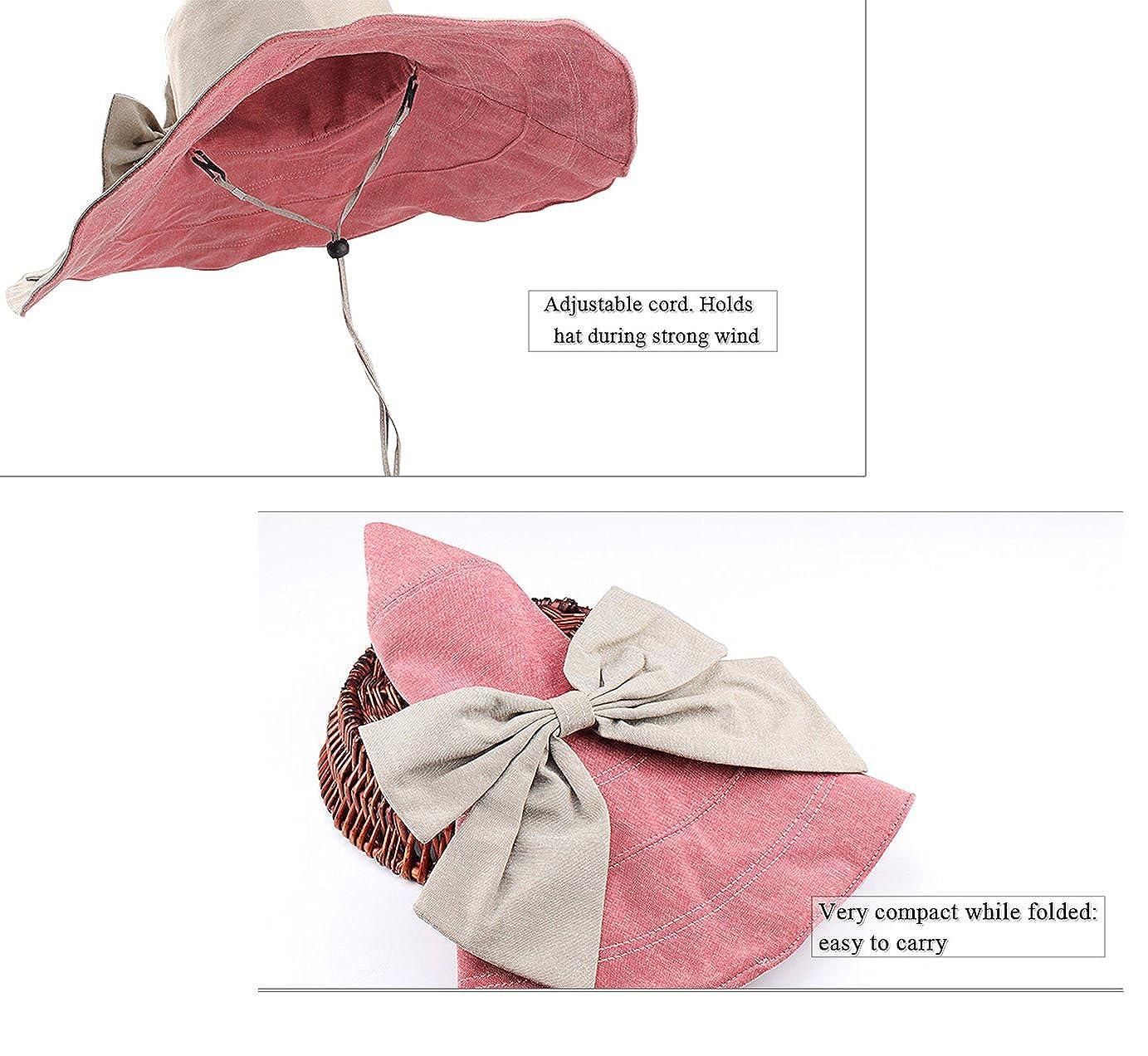 RIONA Damen Frauen breite gro/ße Brim Sonnenhut Reversible Floppy Sun H/üte Foldable Roll up Sommer Strand Anti-UV UPF 50 Sonnenschutz Hut Cap