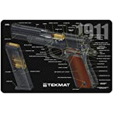 TekMat 1911 Cleaning Mat / 11 x 17 Thick, Durable, Waterproof / Handgun Cleaning Mat Cutaway Design with Parts Diagram and Instructions / Armorers Bench Mat / Black