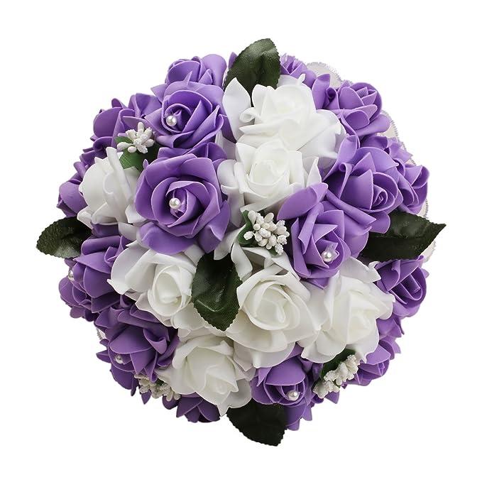 Amazon.com: vLoveLife Wedding Bouquet White & Lavender Artificial ...