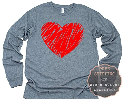 14ce6f1cd Crayon Drawn Heart Valentine Love Graphic Long Sleeve Printed T ...