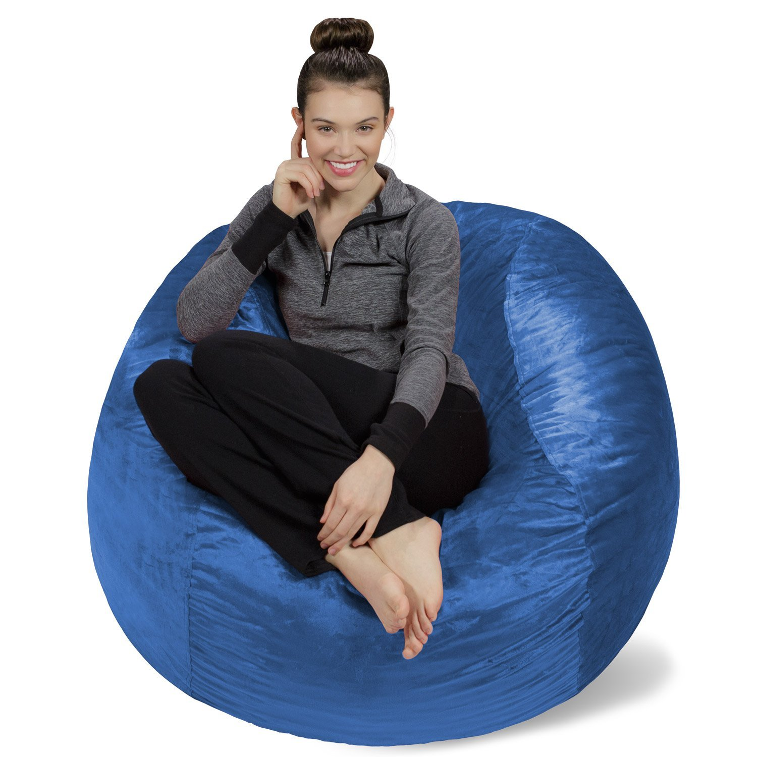 Sofa Sack - Plush, Ultra Soft Bean Bag Chair - Memory Foam Bean Bag Chair with Microsuede Cover - Stuffed Foam Filled Furniture and Accessories For Dorm Room - Royal Blue 4'