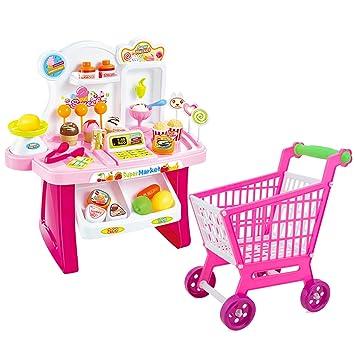Lindos niños coloridos simulación mini mercado Checkstand fingir juguete PLAYSET juego de rol Toy Kit con un carrito de la compra: Amazon.es: Juguetes y ...