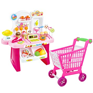 Lindos niños coloridos simulación mini mercado Checkstand fingir juguete PLAYSET juego de rol Toy Kit con