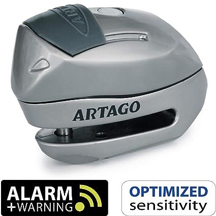 Artago 24S.6M Candado antirrobo Moto Disco Alarma 120 db + Warning, 6 mm