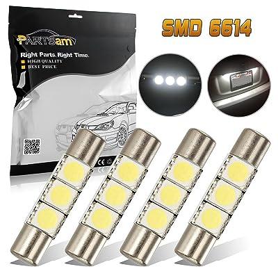 Partsam 4Pcs Super White SMD 6641 3-LED Bulbs Vanity Mirror Lights Sun Visor 2011-2012 Honda CR-Z
