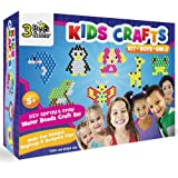 3 Bees & Me Kids Crafts Kit for Boys & Girls Age 5 to 8 - DIY Spray and Stay Water Beads Craft Set for Designs, Keyrings & Backpack Clips - No Iron or Glue Needed - 2 Pegboards & 20 Designs, Various