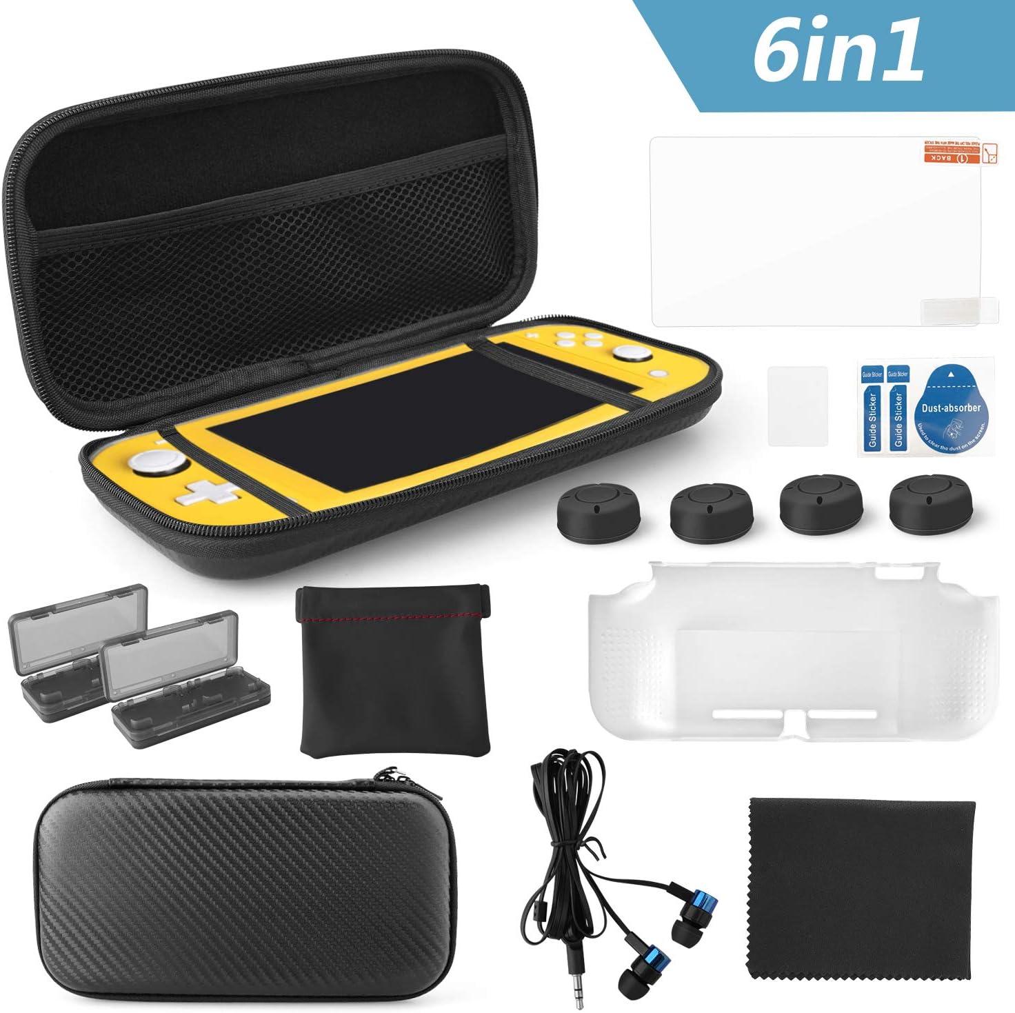 KONKY Kit de Accesorios 6 en 1 para Nintendo Switch Lite, Protección Funda EVA Estuche de Transporte, Protector de Pantalla HD, Tapas Empuñadura de Pulgar, Funda para tarjetas de Juego und Auriculares: