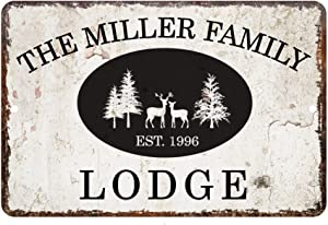 Pattern Pop Personalized Vintage Distressed Look Lodge Metal Room Sign