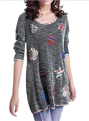 Tayaho Mujeres Camiseta Cuello Redondo Bordada De Manga Larga Basa La Blusa Bonitas Cute Casual Tops