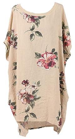 a4239003b37 New Ladies Italian Floral Linen Baggy Top Women Summer Lagenlook Top Plus  Sizes (Beige)  Amazon.co.uk  Clothing