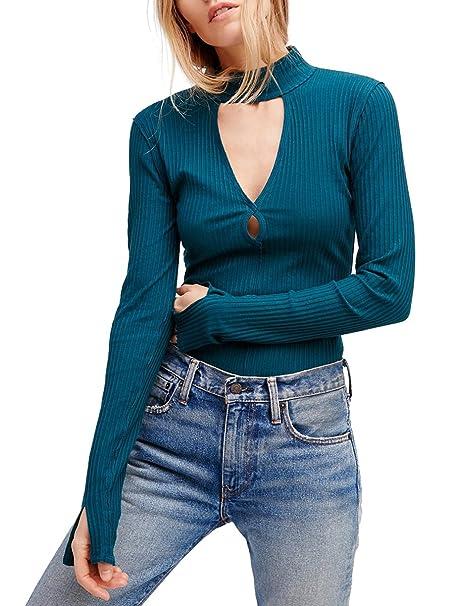 Amazon.com: CA Modo las mujeres Turtleneck cut-outs Slim Fit ...
